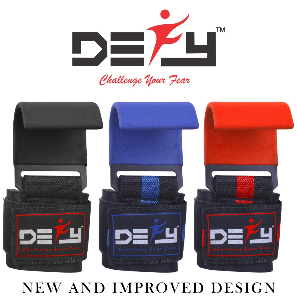 DEFY Weight Lifting Knee Wraps Training Straps Power Lifter Gym Black with Red