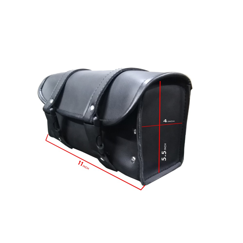 DEFY Motorcycle PU Leather Tool Bag Saddle Bag with Quick Release Buckles Black