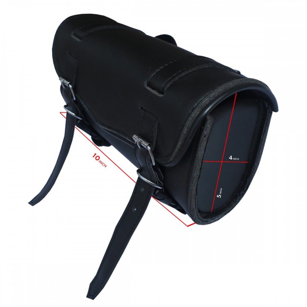F FIERCE CYCLE Universal Motorcycle Saddlebags Luggage Waterproof Synthetic Leather Tool Bag Quick Release with Plastic Buckle Black